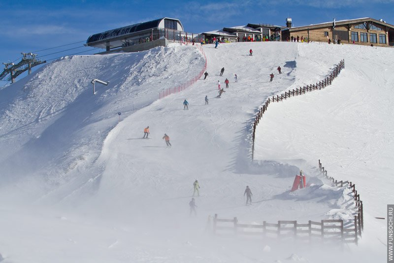 Сноубордисты и горнолыжники на Роза Пик, высота 2320м