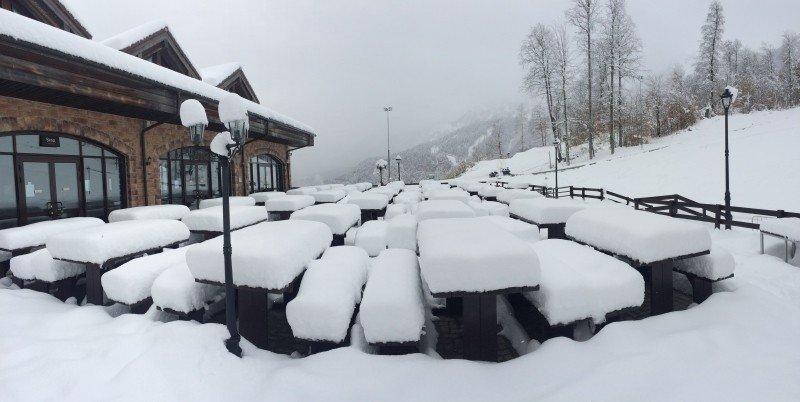 После мощного снегопада на Роза Плато 1170м