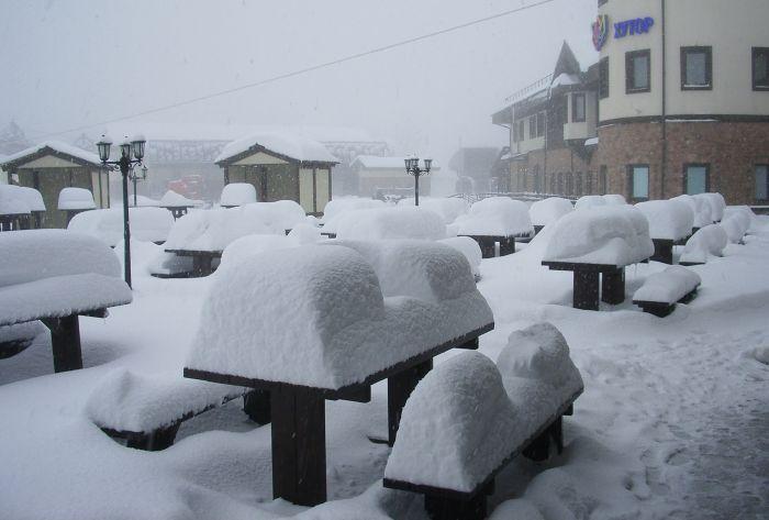Снегопад, Роза Плато (1170 м)