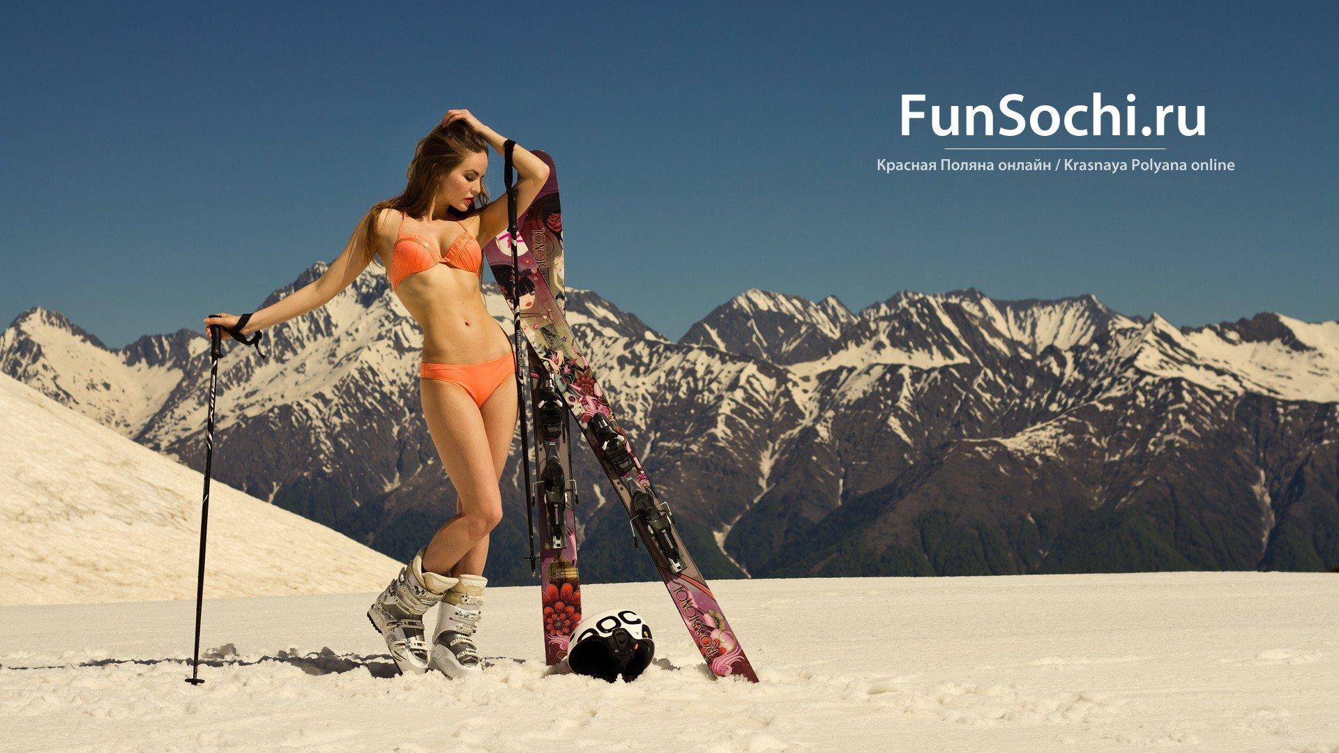 Нагая норвежская лыжница